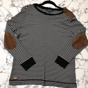 LRL 1X striped long sleeve knit suede elbow patch